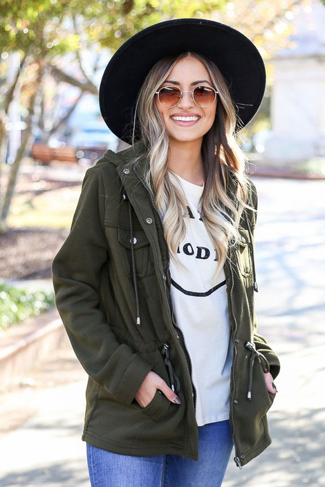 Olive - Fleece Lined Utility Jacket from Dress Up