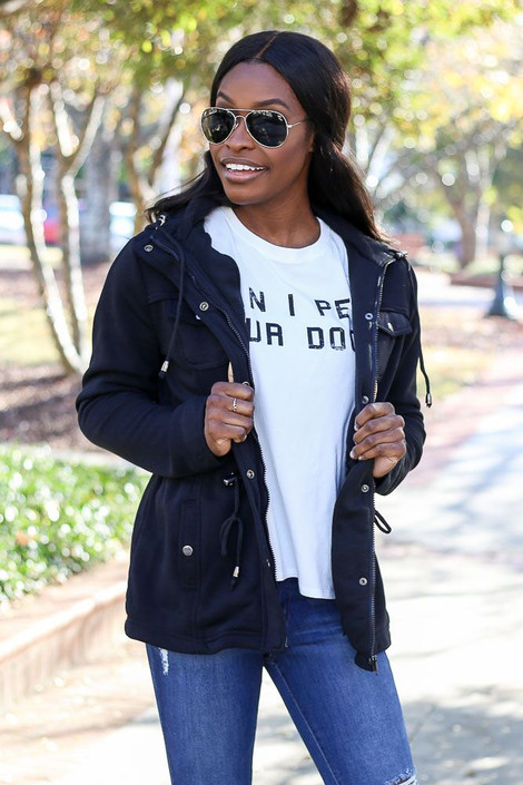 Model wearing the Fleece Lined Utility Jacket from Dress Up in Black - Front View