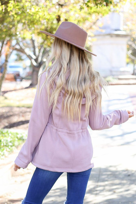 Model wearing the Fleece Lined Utility Jacket from Dress Up in Blush - Back View