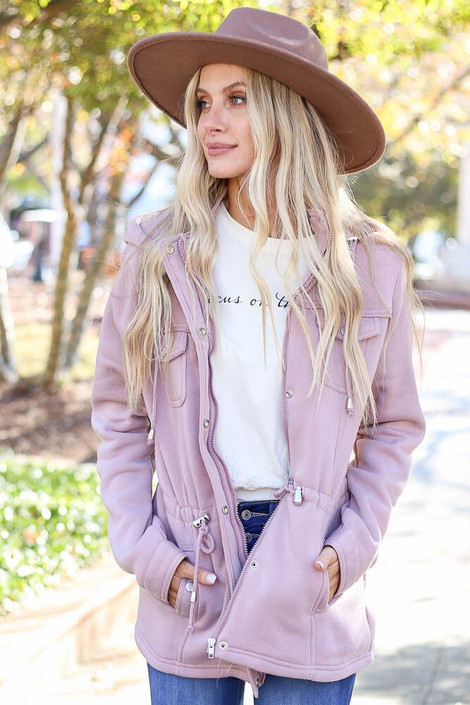 Mauve - Model wearing the Fleece Lined Utility Jacket from Dress Up in Blush - Front View