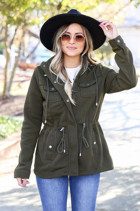 Model wearing the Fleece Lined Utility Jacket from Dress Up in Olive - Front View