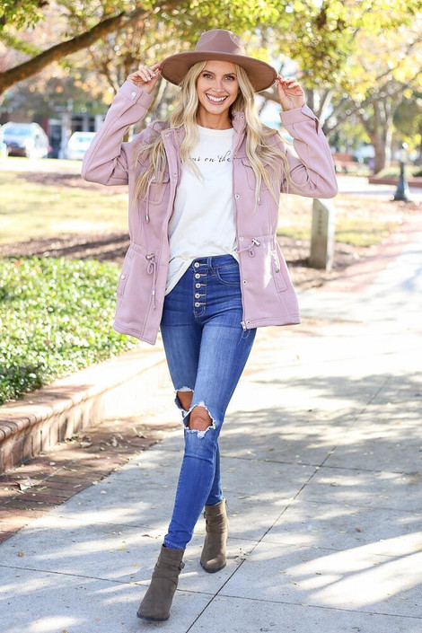 Mauve - Fleece Lined Utility Jacket from Dress Up