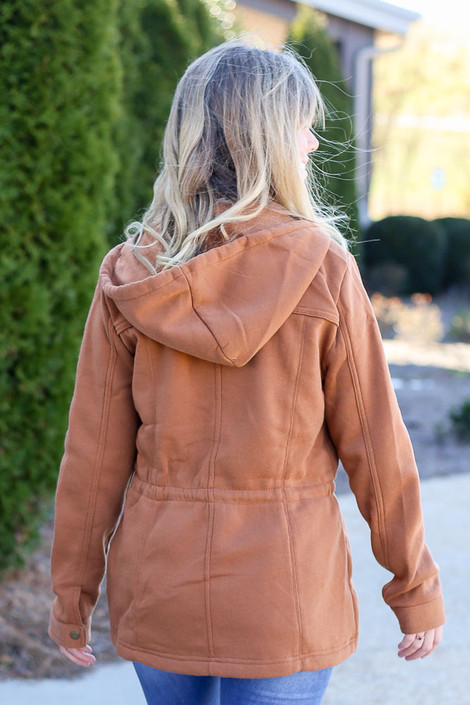 Model wearing the Fleece Lined Utility Jacket from Dress Up in Camel - Back View