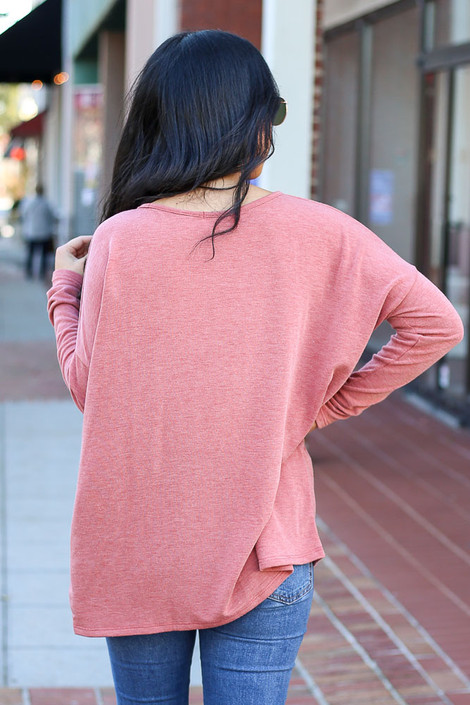Rust - Heather Knit Oversized Top Back View