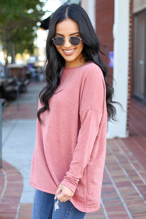 Dress Up Model wearing Rust Heather Knit Oversized Top Side View
