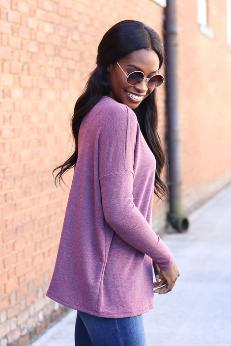 Burgundy - Heather Knit Oversized Top Side View