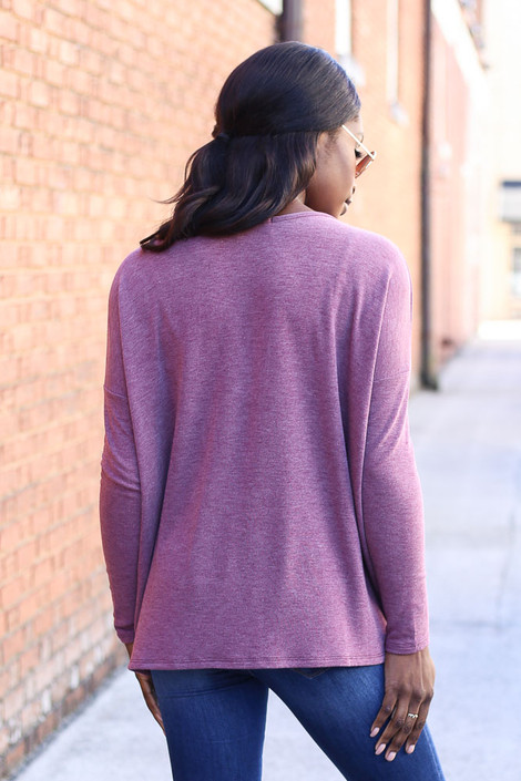 Dress Up Model wearing Burgundy Heather Knit Oversized Top Back View