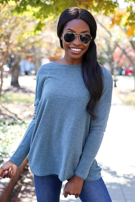 Teal - Heather Knit Oversized Top