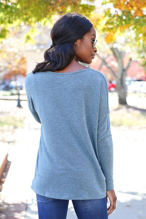 Teal - Heather Knit Oversized Top Back View