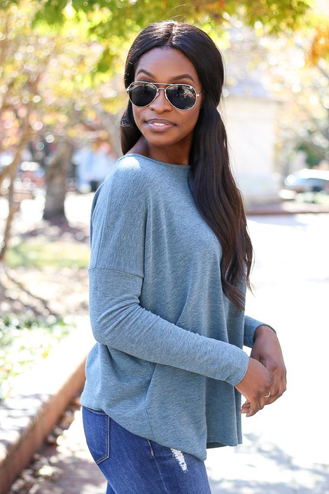 Dress Up Model wearing Teal Heather Knit Oversized Top Side View