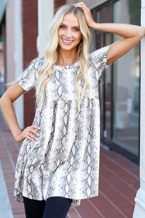 Taupe - Snakeskin Babydoll Dress Front View