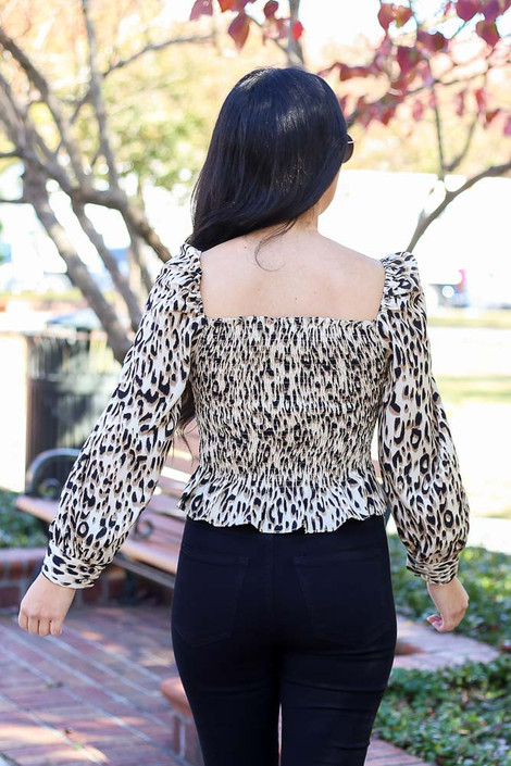Leopard - Ruffle Hem Smocked Blouse Back View