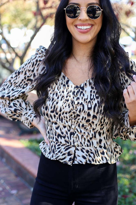 Leopard - Ruffle Hem Smocked Blouse Detail View