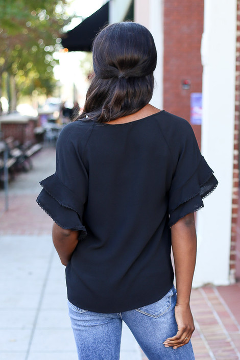 Black - Ruffle Sleeve Blouse on Dress Up Model Back View