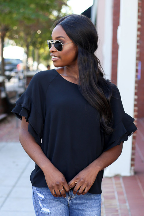 Black - Ruffle Sleeve Blouse on Dress Up Model