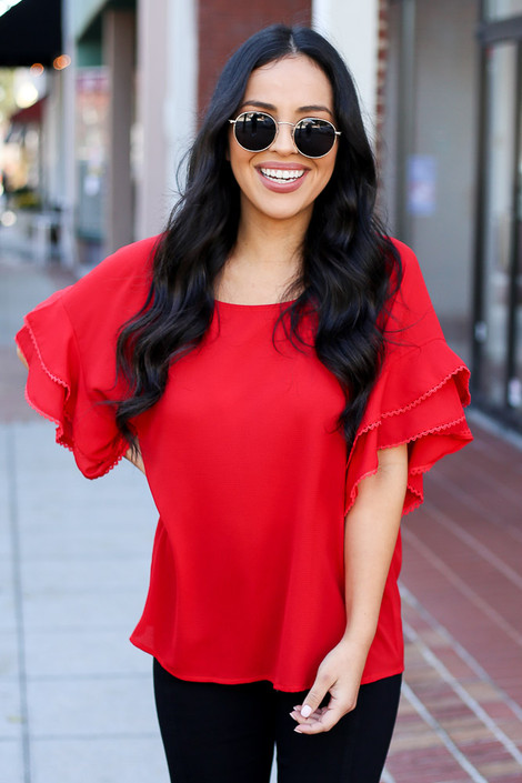 Red - Ruffle Sleeve Blouse on Dress Up Model Front View