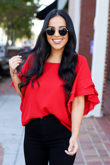 Red - Ruffle Sleeve Blouse on Dress Up Model Tucked In