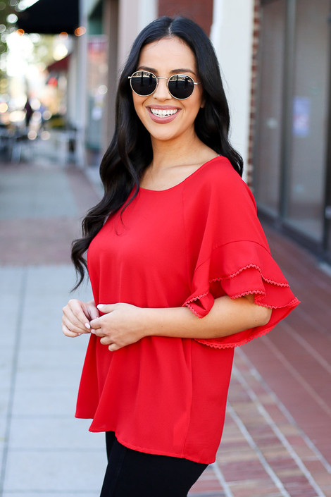 Red - Ruffle Sleeve Blouse on Dress Up Model Side View