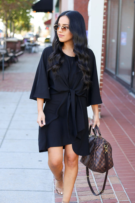 Black - Keyhole Tie Front Dress