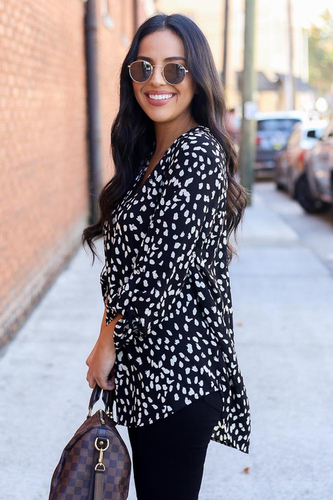 Black - Spotted Blouse Side View