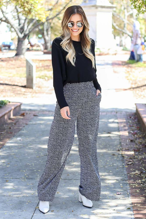 Black - Spotted Wide-Leg Pants