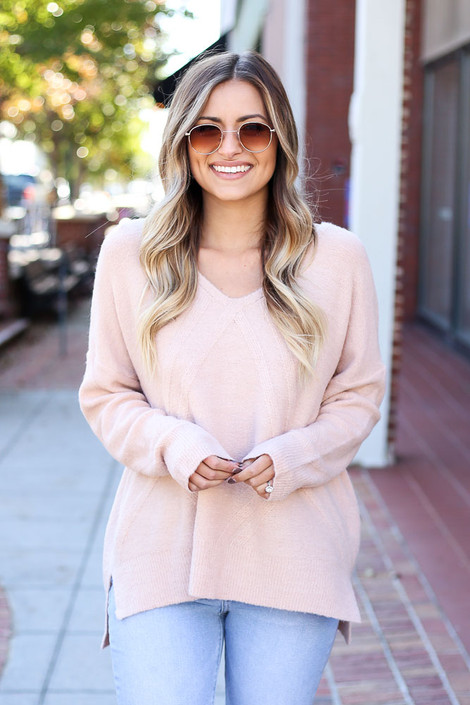 Blush - Raised Pattern Knit Sweater Front View