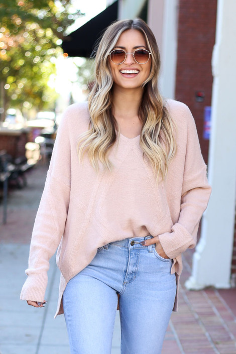 Blush - Raised Pattern Knit Sweater