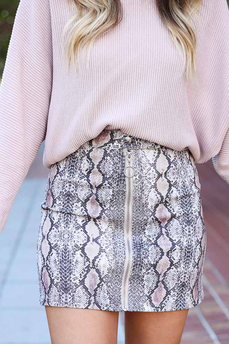 Snake - Snakeskin Mini Bodycon Skirt From Dress Up
