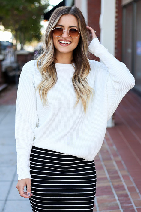 White - Drop Shoulder Sweater