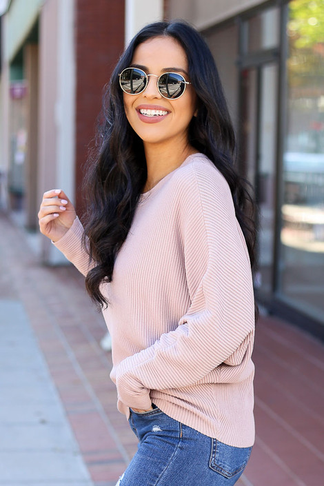 Blush - Drop Shoulder Sweater Side View