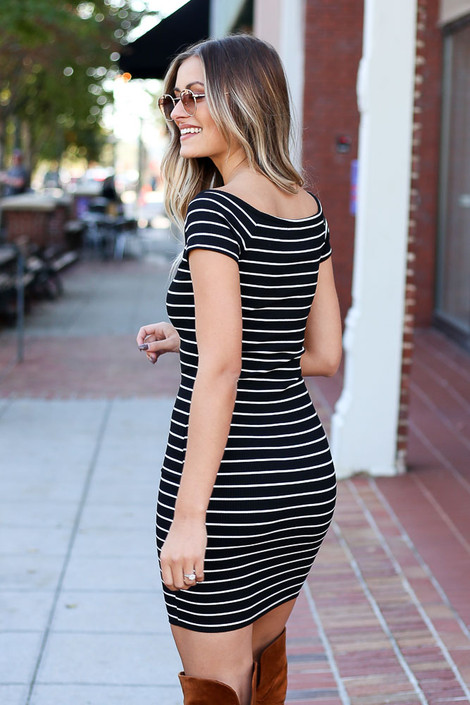 Black - Ribbed Bodycon Button Front Dress Back View