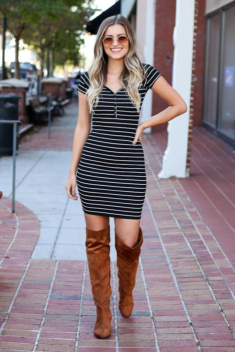 Black - Ribbed Bodycon Button Front Dress Full View