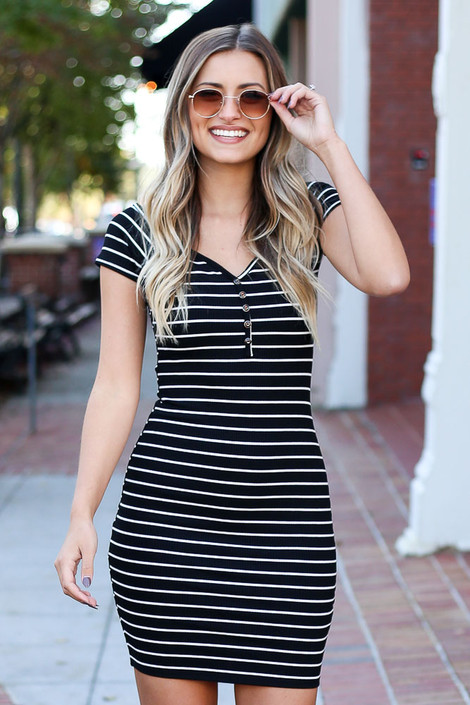 Black - Ribbed Bodycon Button Front Dress Front View