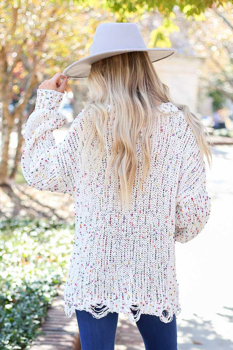 Ivory - Distressed Confetti Chenille Sweater Back View