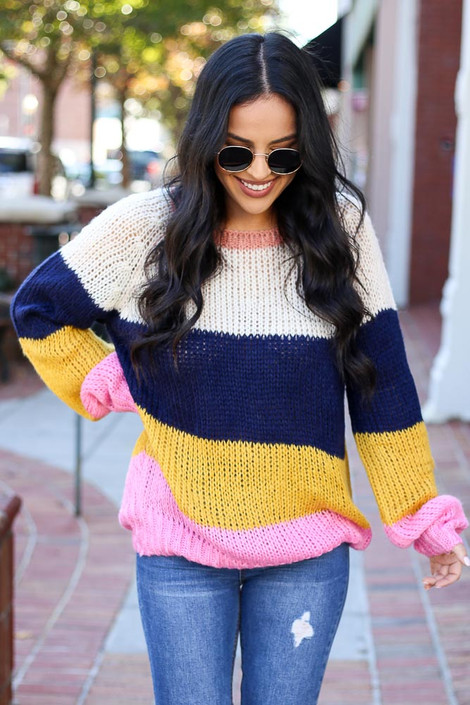 Multi - Wide Stripe Sweater Front View