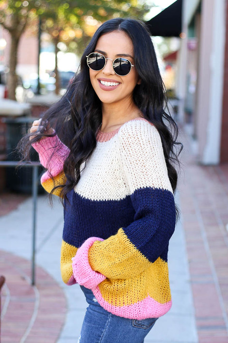 Multi - Wide Stripe Sweater Side View