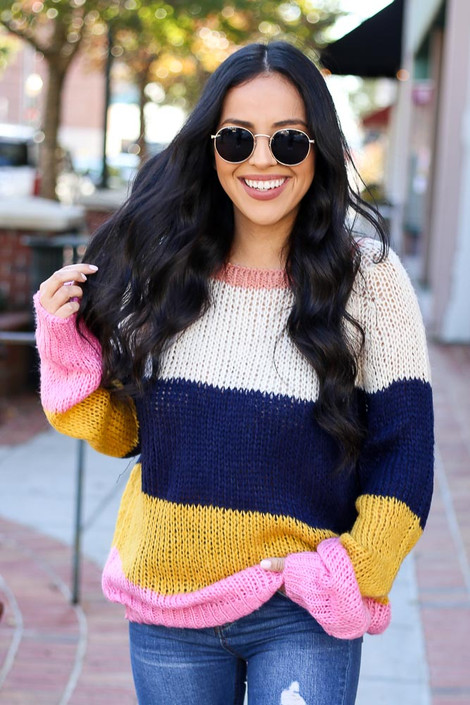 Multi - Wide Stripe Sweater on Model