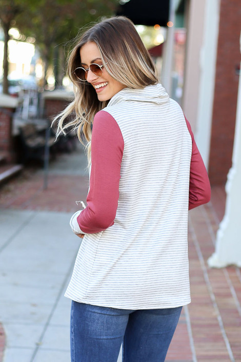 Heather Grey - Striped Contrast Drawstring Hoodie on Model Back View