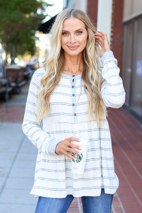 White - Striped Babydoll Henley Top on Model