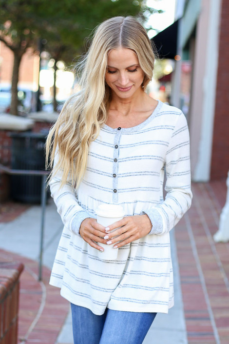 White - Striped Babydoll Henley Top Front View