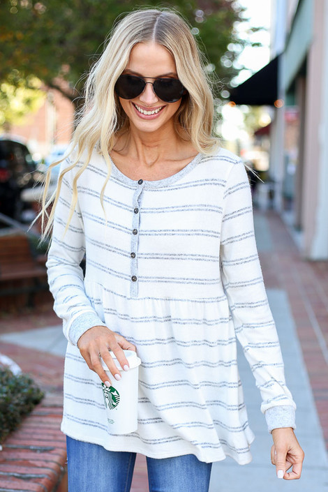 White - Striped Babydoll Henley Top