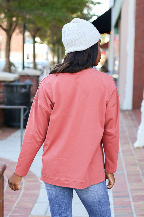 Marsala - Lightweight Boxy Pullover Back View
