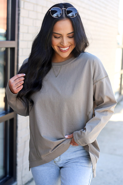 Olive - Lightweight Boxy Pullover Side View