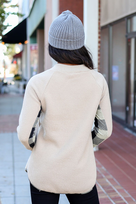 Taupe - Asymmetrical Snap Up Buffalo Plaid Pullover Back View