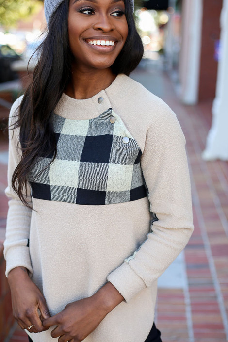 Taupe - Asymmetrical Snap Up Buffalo Plaid Pullover Detail View