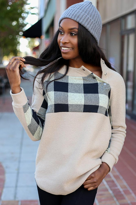 Taupe - Asymmetrical Snap Up Buffalo Plaid Pullover