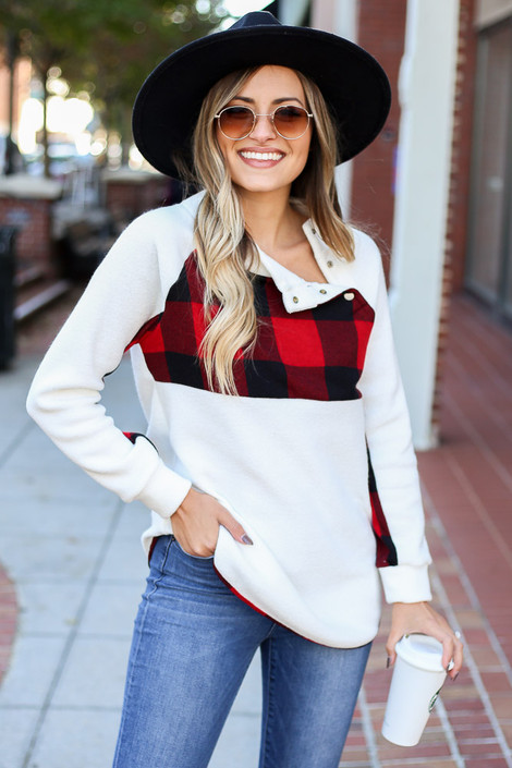 Red - Buffalo Plaid Asymmetrical Pullover