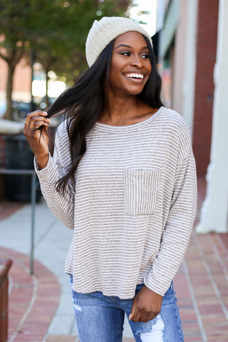 Taupe - Striped Brush Knit Top