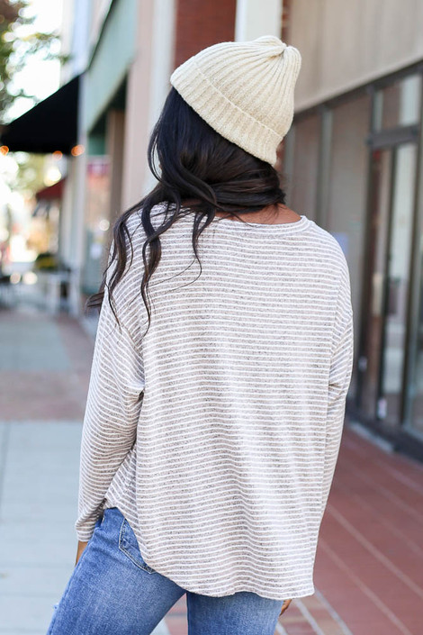 Taupe - Striped Brush Knit Top Back View