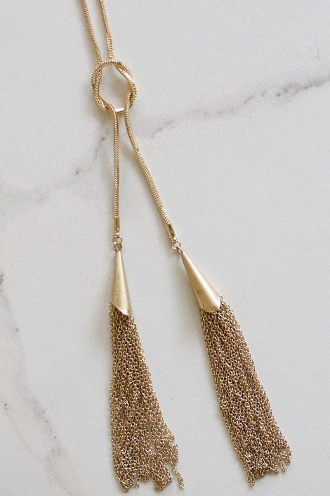 Dress Up Boutique's Lara Snake Chain Tassel Necklace - Flat Lay